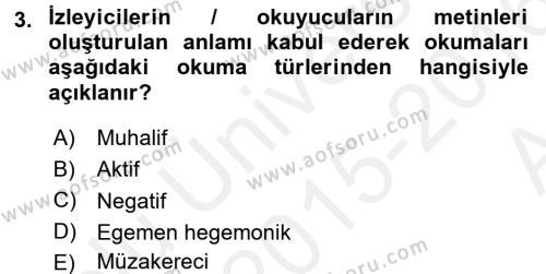 Maliye Bölümü 2. Yarıyıl İnsan ve Toplum Dersi 2016 Yılı Bahar Dönemi Ara Sınavı 3. Soru