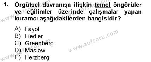 Kamu Yönetimi Bölümü 6. Yarıyıl Örgütsel Davranış Dersi 2013 Yılı Bahar Dönemi Dönem Sonu Sınavı 1. Soru
