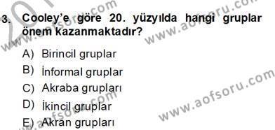 Sosyoloji 2 Dersi 2013 - 2014 Yılı Dönem Sonu Sınavı 3. Soru