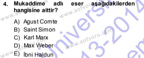Yerel Yönetimler Bölümü 1. Yarıyıl Davranış Bilimleri I Dersi 2014 Yılı Güz Dönemi Dönem Sonu Sınavı 4. Soru