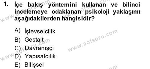 Yerel Yönetimler Bölümü 2. Yarıyıl Davranış Bilimleri II Dersi 2014 Yılı Bahar Dönemi Ara Sınavı 1. Soru
