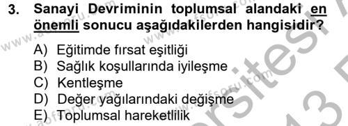 Sosyal Bilimler Bölümü 2. Yarıyıl Sosyal Sorunlar Dersi 2013 Yılı Bahar Dönemi Ara Sınavı 3. Soru