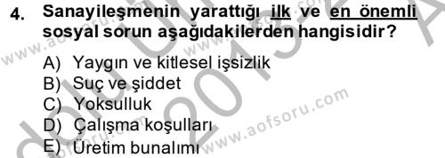 Sosyal Hizmetler Bölümü 2. Yarıyıl Sosyal Sorunlar Dersi 2014 Yılı Bahar Dönemi Ara Sınavı 4. Soru