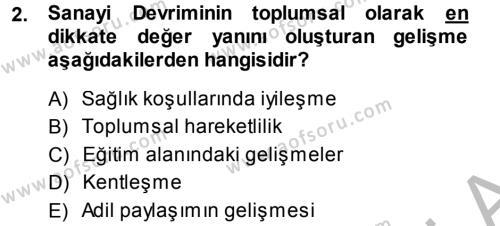 Sosyal Sorunlar Dersi 2013 - 2014 Yılı Dönem Sonu Sınavı 2. Soru