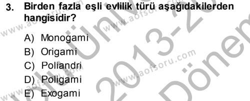 Sosyal Hizmetler Bölümü 2. Yarıyıl Sosyal Sorunlar Dersi 2014 Yılı Bahar Dönemi Dönem Sonu Sınavı 3. Soru