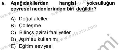 Sosyal Hizmetler Bölümü 2. Yarıyıl Sosyal Sorunlar Dersi 2014 Yılı Bahar Dönemi Dönem Sonu Sınavı 5. Soru