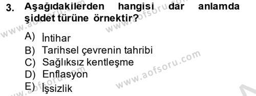 Sosyal Bilimler Bölümü 2. Yarıyıl Sosyal Sorunlar Dersi 2014 Yılı Bahar Dönemi Tek Ders Sınavı 3. Soru