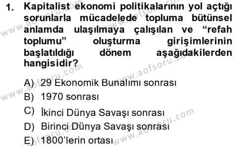 Sosyal Sorunlar Dersi 2014 - 2015 Yılı Ara Sınavı 1. Soru