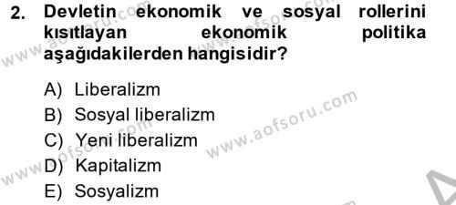 Sosyal Bilimler Bölümü 2. Yarıyıl Sosyal Sorunlar Dersi 2015 Yılı Bahar Dönemi Dönem Sonu Sınavı 2. Soru