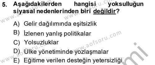 Sosyal Bilimler Bölümü 2. Yarıyıl Sosyal Sorunlar Dersi 2015 Yılı Bahar Dönemi Dönem Sonu Sınavı 5. Soru