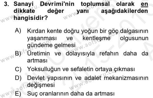 Sosyal Bilimler Bölümü 2. Yarıyıl Sosyal Sorunlar Dersi 2016 Yılı Bahar Dönemi Ara Sınavı 3. Soru