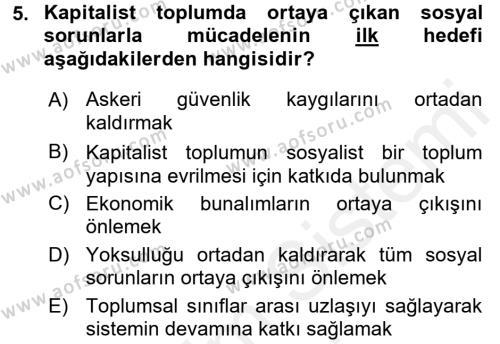 Sosyal Bilimler Bölümü 2. Yarıyıl Sosyal Sorunlar Dersi 2016 Yılı Bahar Dönemi Ara Sınavı 5. Soru
