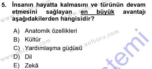 Kültürel Miras ve Turizm Bölümü 3. Yarıyıl Antropoloji Dersi 2016 Yılı Güz Dönemi Ara Sınavı 5. Soru