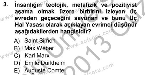 Davranış Bilimlerine Giriş Dersi 2012 - 2013 Yılı Ara Sınavı 3. Soru