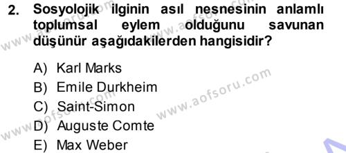 Davranış Bilimlerine Giriş Dersi 2013 - 2014 Yılı Ara Sınavı 2. Soru