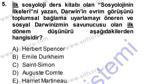 Ev İdaresi Bölümü 1. Yarıyıl Davranış Bilimlerine Giriş Dersi 2014 Yılı Güz Dönemi Ara Sınavı 5. Soru