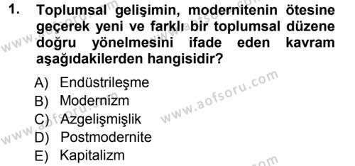Toplumsal Değişme Kuramları Dersi 2012 - 2013 Yılı Ara Sınavı 1. Soru