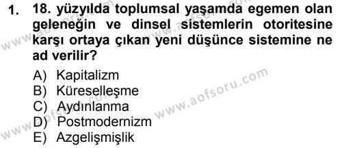 Toplumsal Değişme Kuramları Dersi 2012 - 2013 Yılı (Final) Dönem Sonu Sınav Soruları 1. Soru