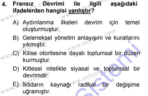 Sosyoloji Bölümü 3. Yarıyıl Toplumsal Değişme Kuramları Dersi 2014 Yılı Güz Dönemi Ara Sınavı 4. Soru