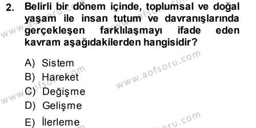 Toplumsal Değişme Kuramları Dersi 2013 - 2014 Yılı Dönem Sonu Sınavı 2. Soru