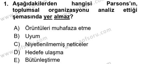 Toplumsal Değişme Kuramları Dersi 2017 - 2018 Yılı (Final) Dönem Sonu Sınav Soruları 1. Soru