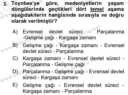 Toplumsal Değişme Kuramları Dersi 2017 - 2018 Yılı (Final) Dönem Sonu Sınav Soruları 3. Soru