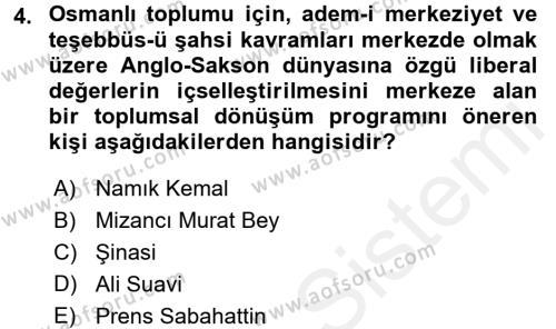 Toplumsal Değişme Kuramları Dersi 2017 - 2018 Yılı (Final) Dönem Sonu Sınav Soruları 4. Soru