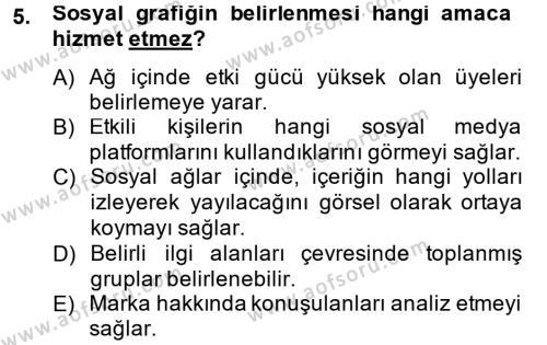 Perakende Satış ve Mağaza Yöneticiliği Bölümü 4. Yarıyıl Sosyal Medya Dersi 2014 Yılı Bahar Dönemi Tek Ders Sınavı 5. Soru