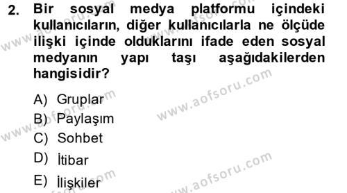 Halkla İlişkiler ve Reklamcılık Bölümü 8. Yarıyıl Sosyal Medya Dersi 2015 Yılı Bahar Dönemi Ara Sınavı 2. Soru