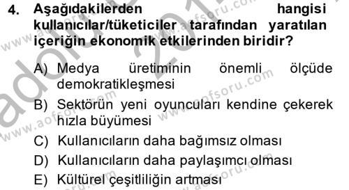 Halkla İlişkiler ve Reklamcılık Bölümü 8. Yarıyıl Sosyal Medya Dersi 2015 Yılı Bahar Dönemi Ara Sınavı 4. Soru