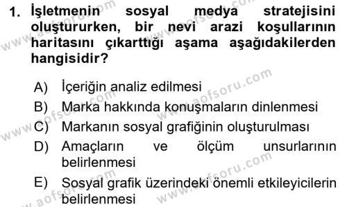 Halkla İlişkiler ve Reklamcılık Bölümü 8. Yarıyıl Sosyal Medya Dersi 2016 Yılı Bahar Dönemi Ara Sınavı 1. Soru