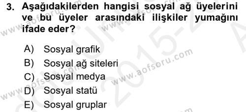 Halkla İlişkiler ve Reklamcılık Bölümü 8. Yarıyıl Sosyal Medya Dersi 2016 Yılı Bahar Dönemi Ara Sınavı 3. Soru