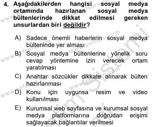 Sosyal Medya Dersi 2016 - 2017 Yılı (Final) Dönem Sonu Sınav Soruları 4. Soru