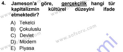Çağdaş Sosyoloji Kuramları Dersi 2012 - 2013 Yılı Dönem Sonu Sınavı 4. Soru