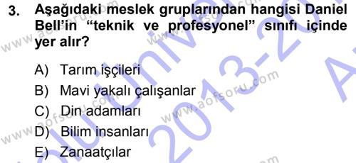 Çağdaş Sosyoloji Kuramları Dersi 2013 - 2014 Yılı Ara Sınavı 3. Soru