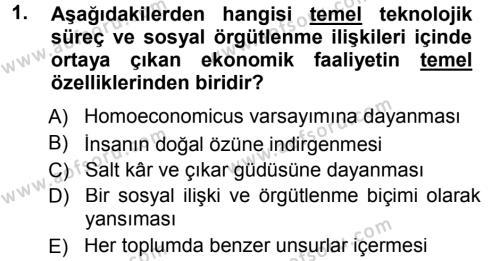 Sosyoloji Bölümü 5. Yarıyıl Ekonomi Sosyolojisi Dersi 2013 Yılı Güz Dönemi Dönem Sonu Sınavı 1. Soru
