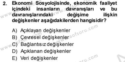 Sosyoloji Bölümü 5. Yarıyıl Ekonomi Sosyolojisi Dersi 2014 Yılı Güz Dönemi Tek Ders Sınavı 2. Soru