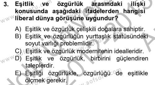 Sosyoloji Bölümü 6. Yarıyıl Toplumsal Tabakalaşma ve Eşitsizlik Dersi 2013 Yılı Bahar Dönemi Ara Sınavı 3. Soru