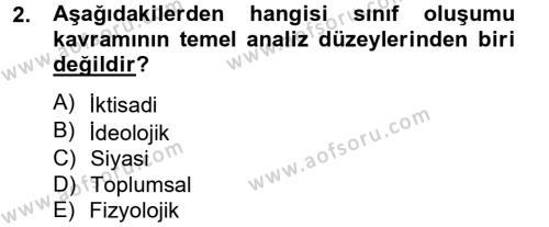 Toplumsal Tabakalaşma ve Eşitsizlik Dersi 2012 - 2013 Yılı (Final) Dönem Sonu Sınav Soruları 2. Soru