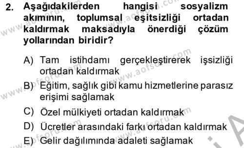 Sosyoloji Bölümü 6. Yarıyıl Toplumsal Tabakalaşma ve Eşitsizlik Dersi 2014 Yılı Bahar Dönemi Ara Sınavı 2. Soru