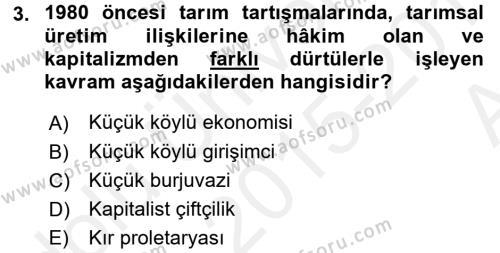 Sosyoloji Bölümü 6. Yarıyıl Toplumsal Tabakalaşma ve Eşitsizlik Dersi 2016 Yılı Bahar Dönemi Ara Sınavı 3. Soru