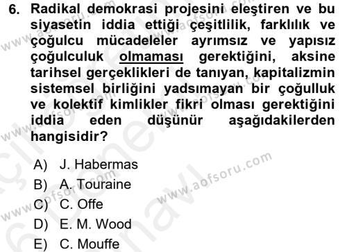 Toplumsal Tabakalaşma ve Eşitsizlik Dersi Tek Ders Sınavı Deneme Sınav Soruları 6. Soru