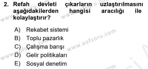 Toplumsal Tabakalaşma ve Eşitsizlik Dersi 2018 - 2019 Yılı (Vize) Ara Sınav Soruları 2. Soru