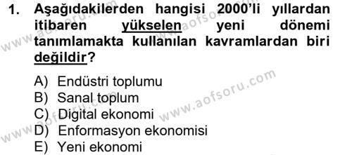Sosyoloji Bölümü 6. Yarıyıl Endüstri Sosyolojisi Dersi 2013 Yılı Bahar Dönemi Ara Sınavı 1. Soru