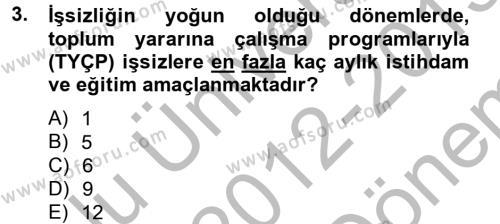 Endüstri Sosyolojisi Dersi 2012 - 2013 Yılı (Final) Dönem Sonu Sınav Soruları 3. Soru