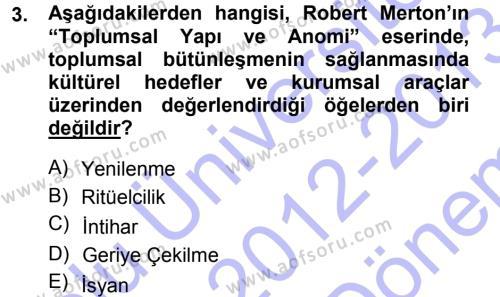 Sosyoloji Bölümü 5. Yarıyıl Kültür Sosyolojisi Dersi 2013 Yılı Güz Dönemi Dönem Sonu Sınavı 3. Soru