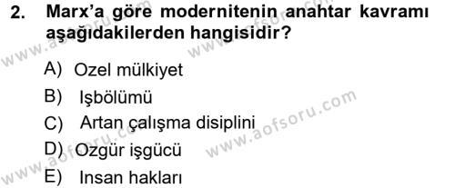 Sosyoloji Bölümü 5. Yarıyıl Yeni Toplumsal Hareketler Dersi 2013 Yılı Güz Dönemi Ara Sınavı 2. Soru