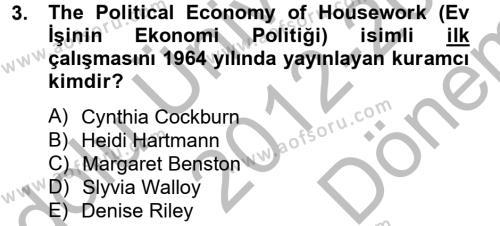 Sosyoloji Bölümü 6. Yarıyıl Toplumsal Cinsiyet Çalışmaları Dersi 2013 Yılı Bahar Dönemi Dönem Sonu Sınavı 3. Soru