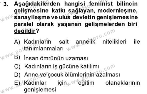 Sosyoloji Bölümü 6. Yarıyıl Toplumsal Cinsiyet Çalışmaları Dersi 2015 Yılı Bahar Dönemi Ara Sınavı 3. Soru