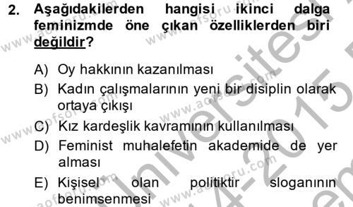 Toplumsal Cinsiyet Çalışmaları Dersi 2014 - 2015 Yılı Dönem Sonu Sınavı 2. Soru